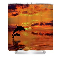 Shower Curtain featuring the digital art Dolphin Silhouette Sunset By Kaye Menner by Kaye Menner