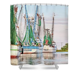 Dolphin Tail - Docked Shrimp Boats Shower Curtain