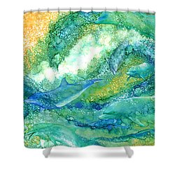 Shower Curtain featuring the mixed media Dolphin Waves 2 by Carol Cavalaris