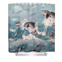 Dolphins At Play Shower Curtain