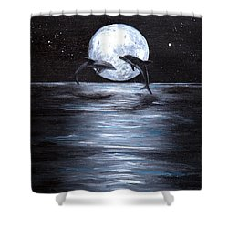 Dolphins Dancing Full Moon Shower Curtain by Bernadette Krupa
