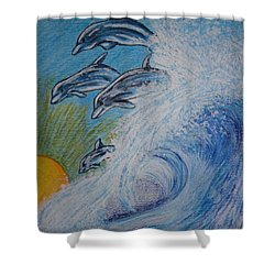 Dolphins Jumping In The Waves Shower Curtain by Kathy Marrs Chandler