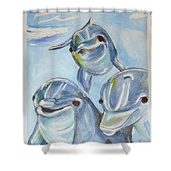 Dolphins Shower Curtain by Loretta Nash