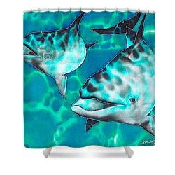 Dolphins Of Sanne Bay Shower Curtain by Daniel Jean-Baptiste