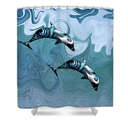 Dolphins Playing In The Waves Shower Curtain
