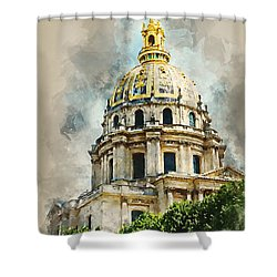 Shower Curtain featuring the digital art Dome Des Invalides by Kai Saarto