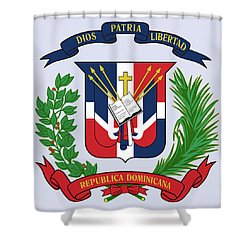 Dominican Republic Coat Of Arms Shower Curtain by Movie Poster Prints