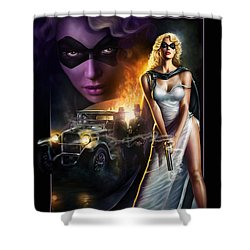 Shower Curtain featuring the digital art Domino Lady by Uwe Jarling