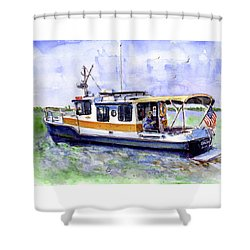 Don And Kathys Boat Shower Curtain by John D Benson