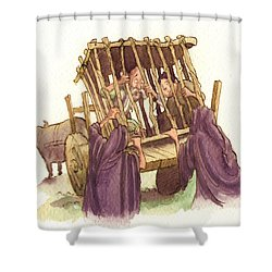 Don Quixote Caged Shower Curtain by Andy Catling