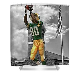 Shower Curtain featuring the photograph Donald Driver Statue by Joel Witmeyer