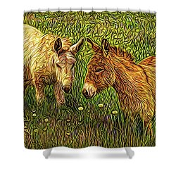 Donkey Confidential Shower Curtain by Joel Bruce Wallach