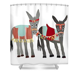 Donkeys Shower Curtain by Isoebl Barber