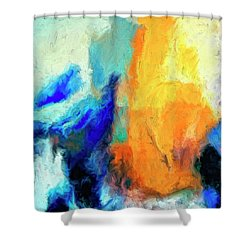Shower Curtain featuring the painting Don't Look Down by Dominic Piperata