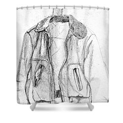 Don't Tell Joan About The Hangers Shower Curtain by Sandra Church