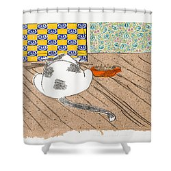 Don't Touch Me Or I Will Eat You Too Shower Curtain by Leela Payne