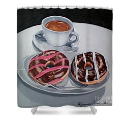 Donuts And Coffee- Donas Y Cafe Shower Curtain