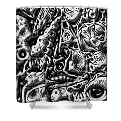Shower Curtain featuring the digital art Doodle Emboss by Darren Cannell