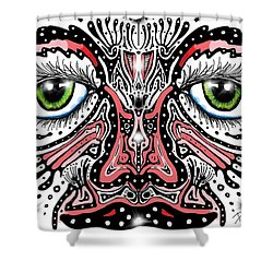Shower Curtain featuring the digital art Doodle Face by Darren Cannell