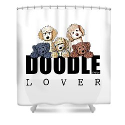 Doodle Lover Shower Curtain by Kim Niles