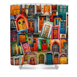 Door Collage Mashup Shower Curtain by TK Goforth