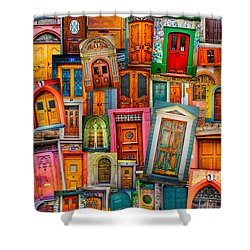 Door Mashup Vertical Shower Curtain by TK Goforth