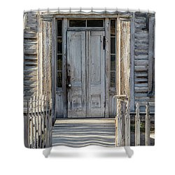 Door Of The Old Bannack Schoolhouse And Masonic Temple Shower Curtain
