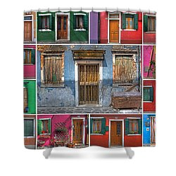 doors and windows of Burano - Venice Shower Curtain by Joana Kruse