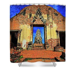 Doorway To Wat Ratburana In Ayutthaya, Thailand Shower Curtain by Sam Antonio Photography