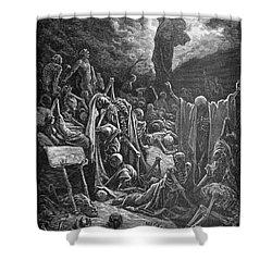 Dor�: Valley Of Dry Bones Shower Curtain by Granger