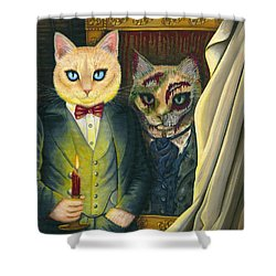 Shower Curtain featuring the painting Dorian Gray by Carrie Hawks
