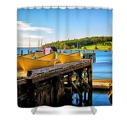 Dories On The Dock Shower Curtain