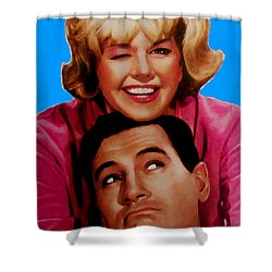 Doris Day Rock Hudson  Shower Curtain by Paul Van Scott