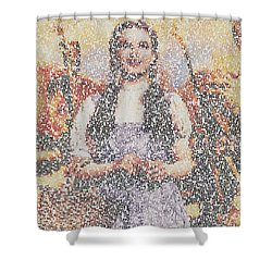 Shower Curtain featuring the mixed media Dorothy Made Of Wizard Of Oz Quotes by Paul Van Scott