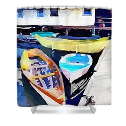 Dory Dock At Beacon Marine Basin - East Gloucester, Ma Shower Curtain