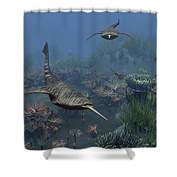 Doryaspis Swim Amongst A Bed Shower Curtain by Walter Myers