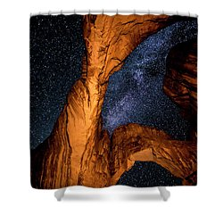 Double Arch And The Milky Way - Utah Shower Curtain by Gary Whitton