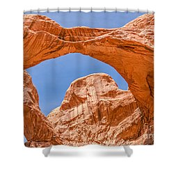 Shower Curtain featuring the photograph Double Arch At Arches National Park by Sue Smith