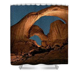 Double Arch And The Milky Way - Arches National Park - Moab, Utah. Shower Curtain