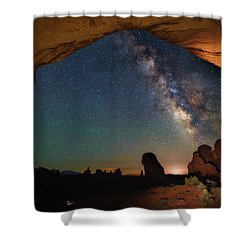 Double Arch Milky Way Views Shower Curtain by Darren White