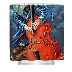 Double Bass And Bench Shower Curtain