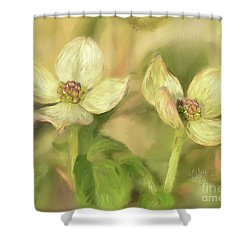 Shower Curtain featuring the digital art Double Dogwood Blossoms In Evening Light by Lois Bryan