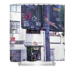 Double Exposure Street Sign Shower Curtain
