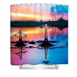 Double Liquid Art Shower Curtain by William Lee