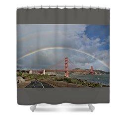 Shower Curtain featuring the photograph Double Rainbow Golden Gate Bridge by Steve Siri