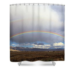 Double Rainbow In Long Valley Caldera Shower Curtain by Viktor Savchenko