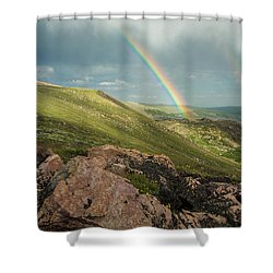 Double Rainbow In The Mountains Shower Curtain