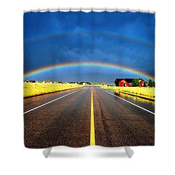 Double Rainbow Over A Road Shower Curtain by Matt Harang