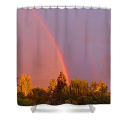 Double Rainbow Over Bow Shower Curtain by Karen Molenaar Terrell