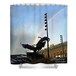 Double Rainbow Over Old Town Square Shower Curtain